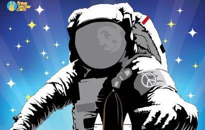 Astronaut Retro Wallpaper