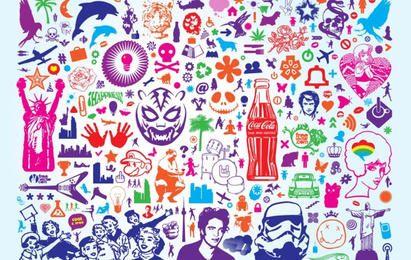 Konzeptillustration mit Ikonen und Symbolen