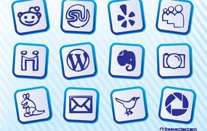 Ícones simples de mídia Social azul
