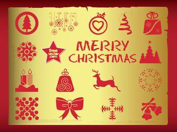 Pacote de símbolo de Natal Vintage de silhueta