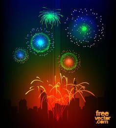 Colorful Celebration Night Fireworks