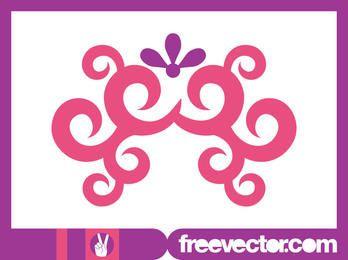 Pinkish Swirls & Floral Ornament