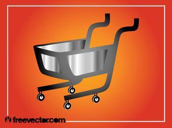 Silver & Grey 3D Shopping Cart