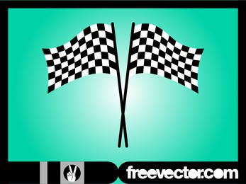 Black & White Wavy Racing Flag