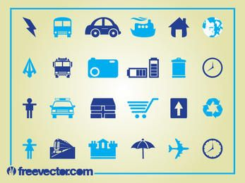 Blue Clean Icon Set