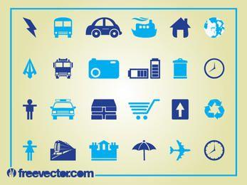 Conjunto de iconos limpio azul