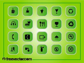 Grüne quadratische flache Icon Pack