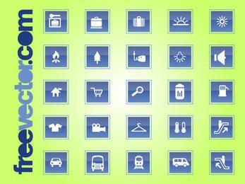 Conjunto de iconos de viaje y transporte cuadrado