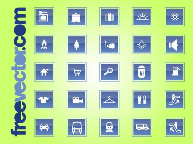 Conjunto de ícones quadrados Travel & transporte