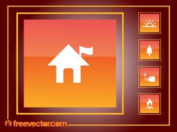 Quadratisches orangefarbenes Camping Icon Pack
