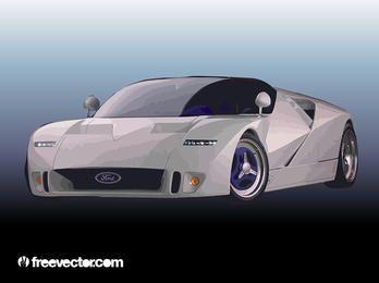Silberner Ford-Rennwagen