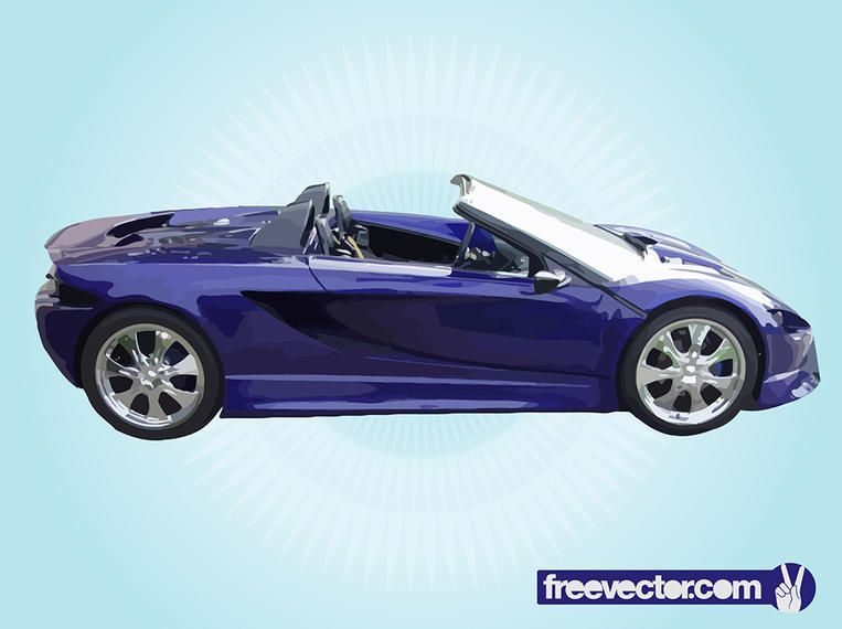 Coche de carreras de lujo convertible azul