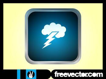 Glossy Grey Rim Thunderstorm Icon
