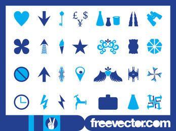 Blaues Symbol und Symbolsatz