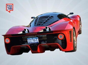Glossy Red Ferrari Rear Car
