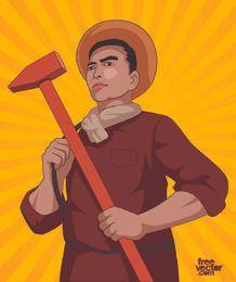 Dia dos desenhos animados do trabalhador com martelo