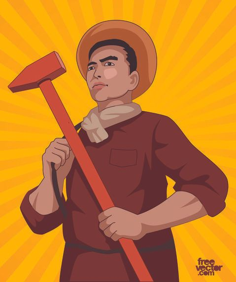 Day Laborer Cartoon with Hammer