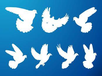 Paquete de palomas voladoras de silueta
