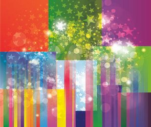 Colorful Striped Background with Star Explosion