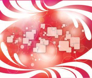 Fondo abstracto con remolinos, cuadrados y círculos