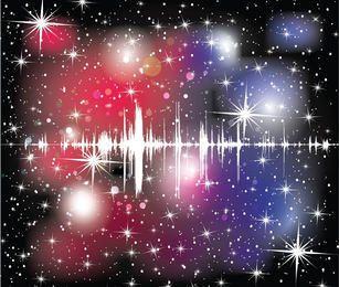 Abstracto colorido fondo de onda de sonido cosmos estrellado