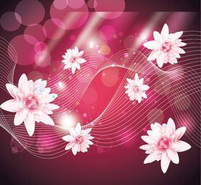 Fondo rosa abstracto con loto y líneas