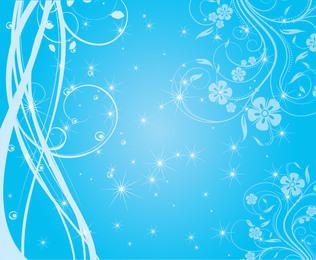 Swirly Blue Background with Sparkling Stars
