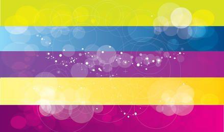 Fundo de bolhas Bokeh com retângulos multicoloridos