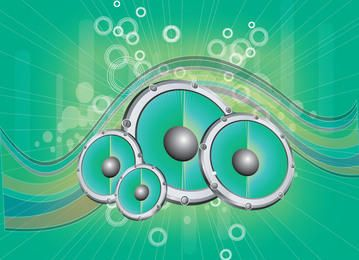 Altavoces abstractos Ondas y círculos fondo verde