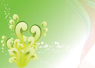 Fondo verde de remolinos y salpicaduras