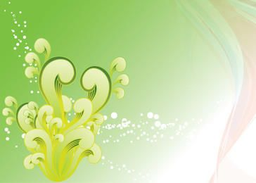 Green Swirls and Splashes Background