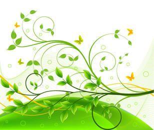 Roda Floral com Borboletas e Linhas Espirais