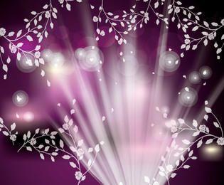 Fundo Florístico Brilhante Fluorescente com Bokeh