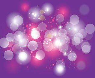 Burbujas brillantes bokeh sobre fondo púrpura