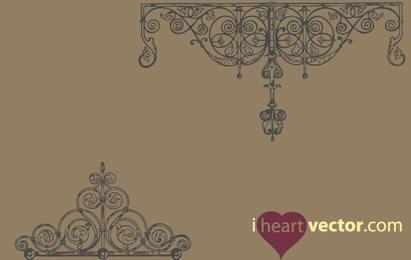 Paquete de vectores de adornos de hierro vintage