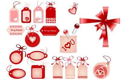 Insignias de amor, cintas, lazos en rojo.