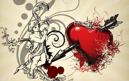 Fondos del corazón de la vendimia 4