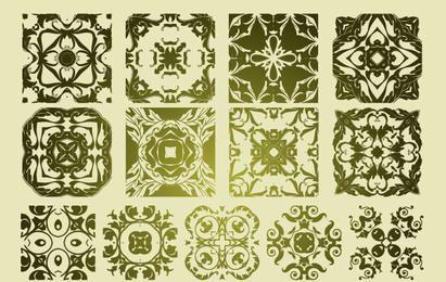 16 padrões antigos de vetores florísticos