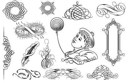 Calligraphic Ornaments in vector