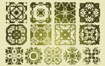13 antike floristische Vektormuster
