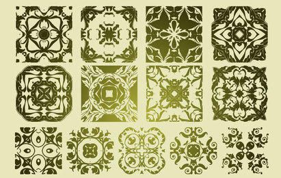 13 Antique Floristic Vector Patterns