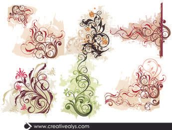 Swirling Curvy Edge Floral Ornaments