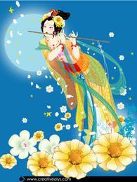 Dama Florística Con Flauta
