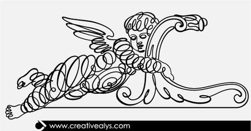 Arte de linha caligráfica de criança alada