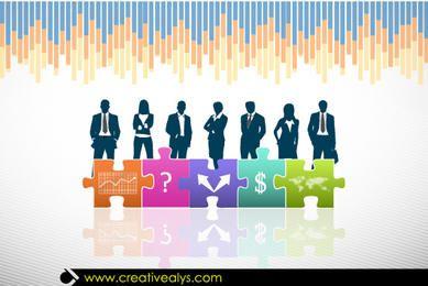 Povos de negócio & quebra-cabeças com sinal