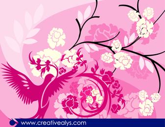 Fondo floral rosáceo con pájaro