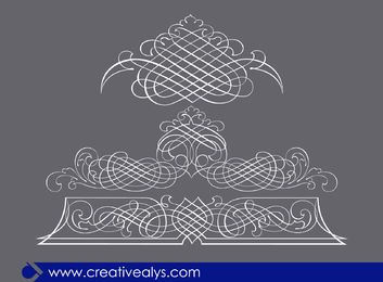 3 Calligraphic Line Art Ornaments