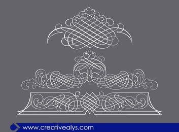 3 ornamentos de arte de linha caligráfica