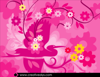 Hermosa obra de flor de rosáceo