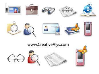 Paquete de iconos de tecnología y negocios detallados y brillantes